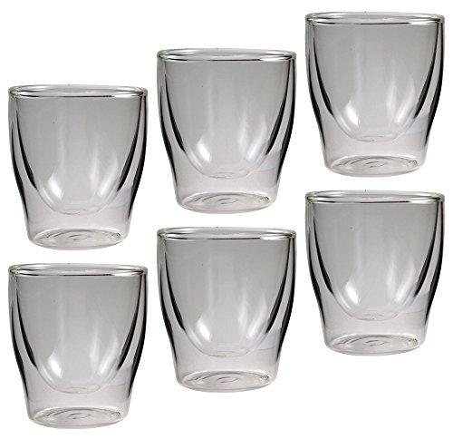 Feelino, Set di bicchierini in vetro a doppia parete Bloomino, con effetto ondulato, in confezione regalo, 6 pz. da 80 ml