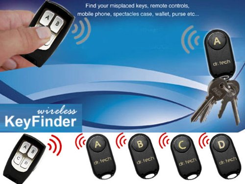 Dr Tech Wireless Remote Key Finder Locator With 4 Receivers --Remote Control, Pet, Wallet, Key Finder, Etc.