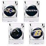 BALTIMORE RAVENS NFL 2OZ 4PC COLLECTORS SHOT GLASS SET