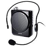 AGPtEK ポータブルメガホン 小型拡声器 ハンズフリー(ブラック+ホワイト)