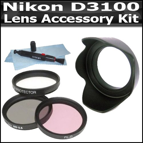 52mm Lens Accessory Bundle Kit For Nikon D3100 14.2MP Digital SLR Camera Includes 52mm 3pc High Resolution Multi Coated Filter Kit + 52mm Lens Hood + Lens Pen Cleaning Kit