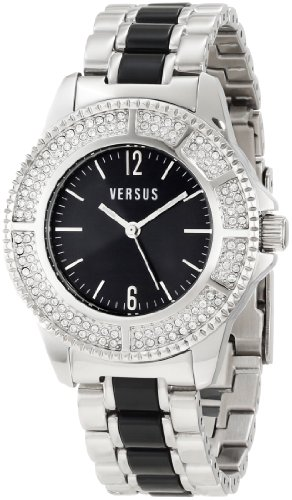 Versus by Versace Women's 3C64200000 Tokyo Stainless Steel Black Dial Crystal Bracelet Watch
