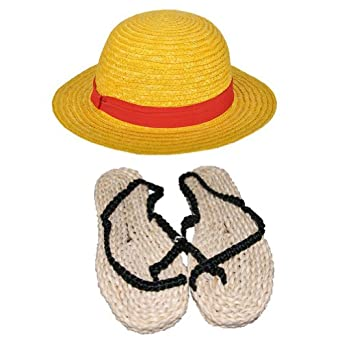 Rulercosplay One Piece Luffy Straw Hat + Straw Sandals Cosplay Accesory- Desluxe