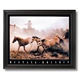 Wild Mustang Horse Roundup Western Cowboy Home Decor Wall Picture Black Framed Art Print