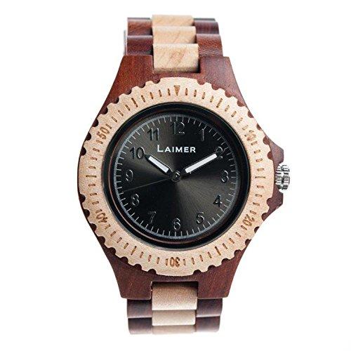 Laimer orologio da polso in legno bicolore for Orologio legno amazon