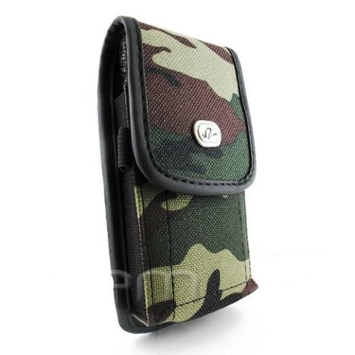 Vertical Camouflage Designed Velcro Carrying Case Holster Cover Side Pouch with Belt Loop and Metal Clip for ATT Nokia Ace - Nokia X7 - Pantech Burst - Samsung Captivate i897 - Samsung Focus SGH-i916 - Samsung Rugby Smart SGH-I847 - Sony Ericsson Xperia P