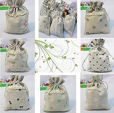 Cotton Linen handmade fabric gift bags wedding favor jewelry bags home decor set of 10