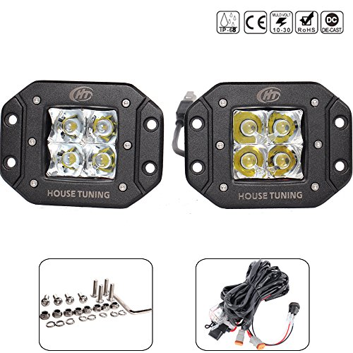 HT 2pcs 20W 3x3 CREE LED Light Pods Flush Mount LED working Light Harness for Jeep Trucks Off road Racing Power Sports Tractors 4WD Vehicle Lights-2years Warranty (20W Flush Mount Spot Beam) (Mini 4wd Circuit compare prices)