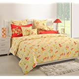 Swayam Orange Colour Fitted Double Bed Sheet With Pillow Covers