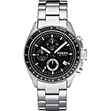Stainless Steel Quartz Chronograph Black Dial Link Bracelet