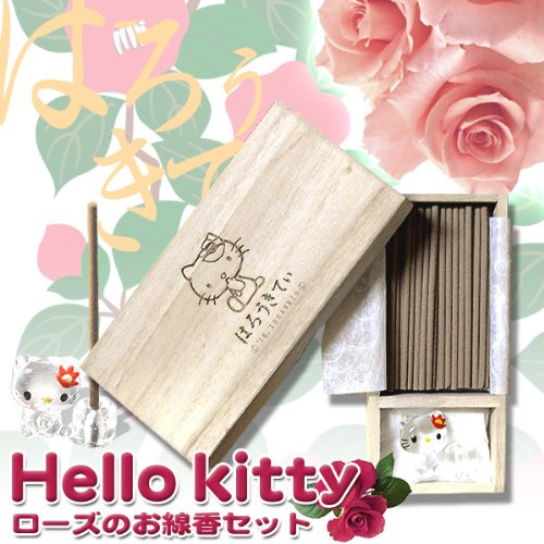 Remarkable coming Shii incense set rose fragrance lines incense & オリジナルクリスタルキティ incense stand set Tung on (m091)