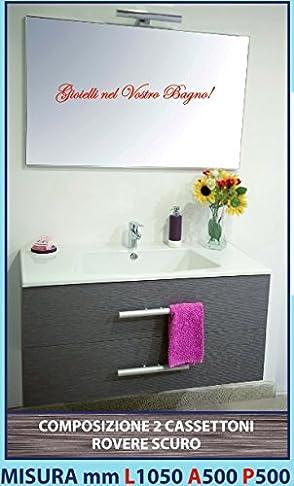 LUISA 54 - Composizione mobile ROVERE SCURO 2 cassettoni, lavello ABS, specchiera e lampada led 1050 mm