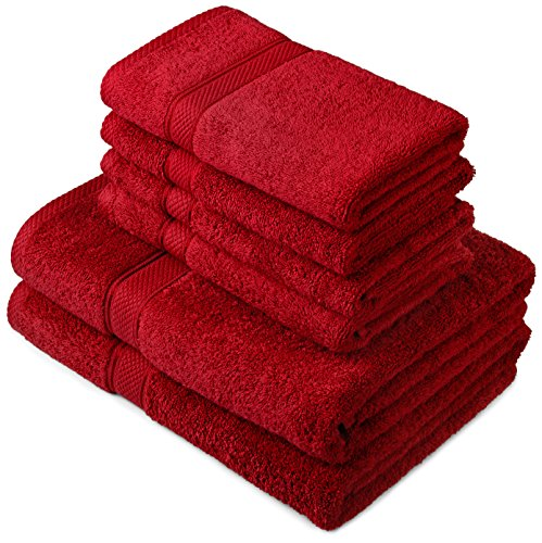 Pinzon by Amazon - Set di asciugamani in cotone egiziano, 2 asciugamani da bagno e 4 per le mani, colore: rosso ribes