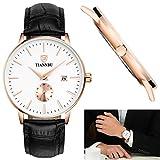 Eldori TIANNBU 腕時計 極薄型 レザー ベルト メンズ 日付表示 日本クォーツムーブメント ホワイト文字盤 30M防水 アナログ ウオッチ カジュアル スポーツウォッチ 運動 腕時計 (ゴールド+ホワイ)