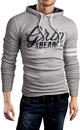 Grin&Bear SLIM FIT T-Shirt langarm Hemd, Grau Signatur-Print, Größe S