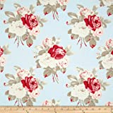 Petal Large Antique Roses Blue Fabric