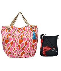 Combo of Animal Giraffe Tote with Black Small Sling Bag