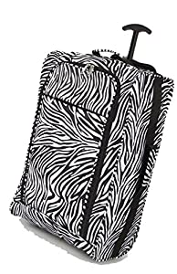 Majestic Lightweight Hand Luggage Wheeled Trolley Bag Cabin Ryan Air Easy Jet - Zebra - 55x35.5x20 from majestic