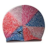 Jiejia Silicone Swim Multi-color Rose Cap CP406B for Men and Women Pink and Blue, 10X6X0.8/Multi-Color