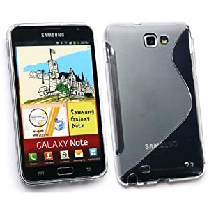 SAMSUNG GALAXY NOTE WAVE PATTERN TPU GEL SKIN COVER/CASE CLEAR BY KIT ME OUT UK