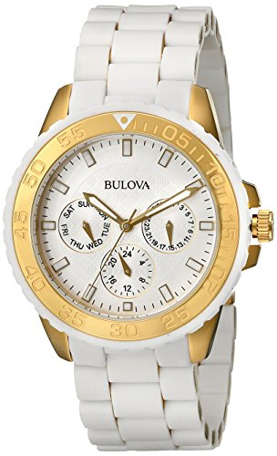 Bulova 98N102 Women's Sport White Dial White Rubber & Steel Bracelet Watch