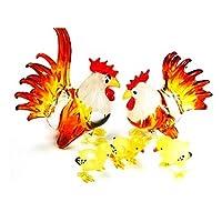 水族館ミニチュア手吹き飛ばさアート ガラス ガラスの鶏家族、サイズ S の置物のコレクション