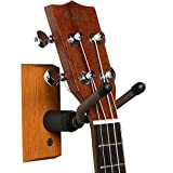 My Guitar Hanger | Heavy Duty Real Hardwood Quality with Comfortable Grip String Swing Hanger | Perfect for Guitars Bass Ukuleles Violins | Brown/Black | 1139