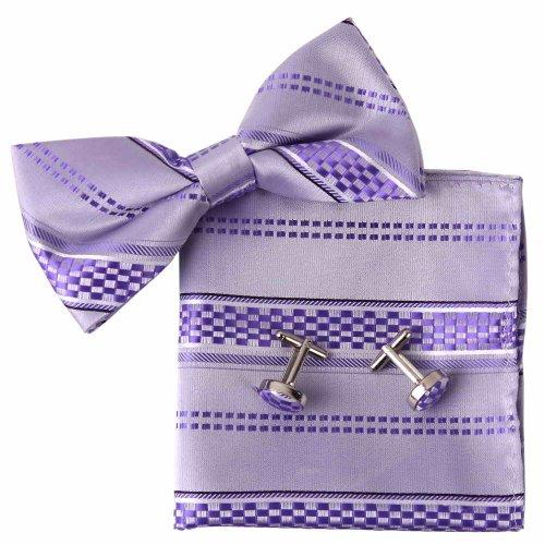 Ebc1034 Beautiful Design Purple Stripes Luxury Father Day Gift Silk Pre-Tied Bowtie Cufflink Hanky Set By Epoint