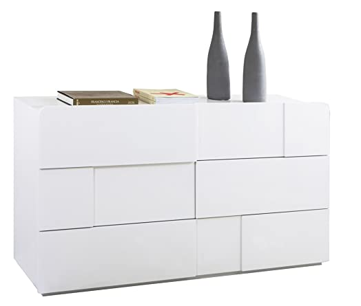 Cassettiera con 6 cassetti di colore bianco lucido - linea Arcora