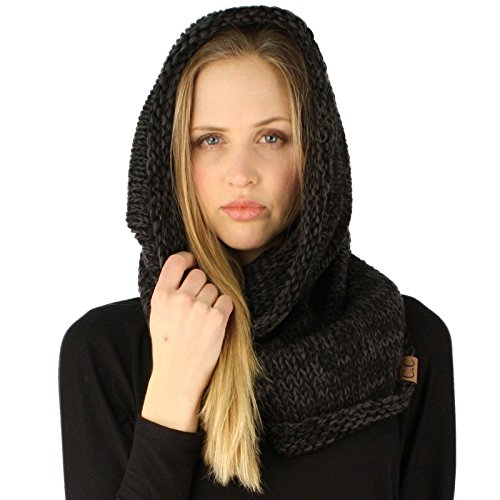 Winter Chunky Long Pullover Knit Single Loop Tube Infinity Hood Cowl Scarf Black (Cowl Scarf compare prices)