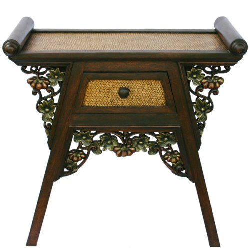 Cheap EXP Handmade Asian furniture- 26″ Teak Wood & Rattan End Table / Nightstand With Carved Floral Trim (B001KWGIXA)