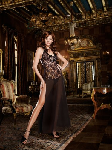 Dream Girl 7902 GOWN & THONG color:BLACK size:S