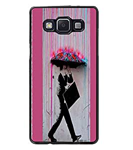 PrintDhaba Man with Umbrella D-2895 Back Case Cover for SAMSUNG GALAXY A5 (Multi-Coloured)
