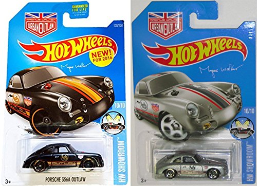 Set of both Colors ( Black & Silver) PORSCHE 356A OUTLAW Hot Wheels 2016 Magnus Walker Series 1:64 Scale Collectible Die Cast Metal Toy Car Models