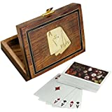"Wooden Playing Card Box For Storage - Playing Card Holder With Deck Of Card - Card Games - 4.5"" X 3.5"" X 1.5"""
