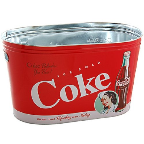 COCA COLA Coke Large Oval Party Tub (Vintage Metal Cooler compare prices)