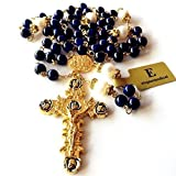 elegantmedical HANDMADE GOLD BULE Tiger Eye Bead +AAA8mm Real Pearl Beads NECKLACE CATHOLIC rosary (Color: Blue)