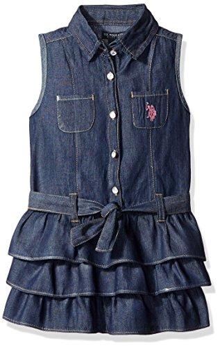 U.S. Polo Assn. Baby Sleeveless Denim Tiered Ruffle Dress, Blue, 24 Months