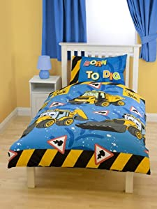 parure housse de couette linge de lit tracteur jcb camion enfant cuisine maison. Black Bedroom Furniture Sets. Home Design Ideas