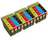 12 COMPATIBLE INK CARTRIDGES (3 Sets TO715) FOR EPSON STYLUS S20, SX100, SX105, SX110, SX115, SX200, SX205, SX210, SX215, SX218, SX400, SX405, SX410, SX415, SX515W, SX600FW, SX610FW, BX300F, S21, SX110, SX115, SX215, SX410, SX415, SX515W, SX209, SX405 Wi