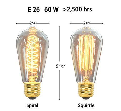 12 Pack - 60W - ST64 - E26 - 7 Squirrel Cage and 5 Spiral - dimmable - Vintage Edison Light Bulbs - Clear Glass - industrial vintage style - Youngever Home - 2 FREE 2