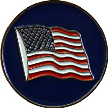 US American Flag Blue Golf Ball Marker and Matching USA Hat Clip