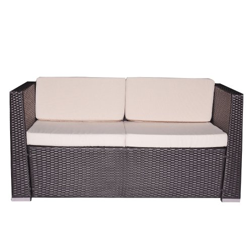 Malibu brown 4pc outdoor resin wicker patio sofa furniture for Malibu outdoor sectional sofa