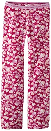 Calvin Klein Little Girls'  Ck Plush Heart Pajama Pant, 99-Assorted, X-Small 5/6