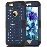 6S Plus Case, iPhone 6 Plus Case, iPhone 6S Plus Case, Speedup Diamond Studded Crystal Rhinestone 3 in 1 Bling Hybrid Shockproof Cover Silicone and Hard PC Case For iPhone 6 6S Plus (Navy Black)