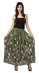FEMEZONE Skirt Women's Cotton Regular Fit Rayon and Crepe Skirt (Green, XXL)