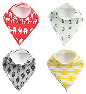 ★ 4-Pack Baby Bandana Drool Bibs (Unisex) & FREE Contoured Organic Cotton Burp Cloth ~ Best Gift For Toddlers ~ Super soft and Absorbent with Fleece Back ~ Nickel-free snaps ~ Perfect for infants