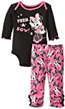 Disney Baby Girls Newborn Minnie Mouse Bodysuit and Pant Set, Black, 6-9 Months