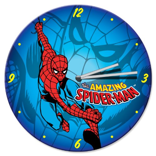 "Vandor 26089 Spider-Man 13.5"" Cordless Wood Wall Clock, Blue, Red, White, And Yellow front-346156"