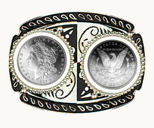 """Two Coin U.S. Silver Dollar Belt Buckle 4"""" x 3"""" - Silver Plated & Black Enamel - with two Brilliant Uncirculated Morgan Type Silver Dollars - Made In USA"""